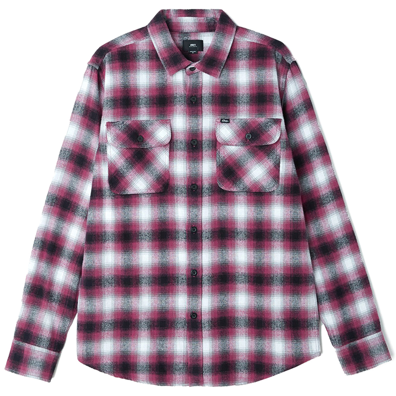 Obey Mission Woven Shirt Raspberry multi