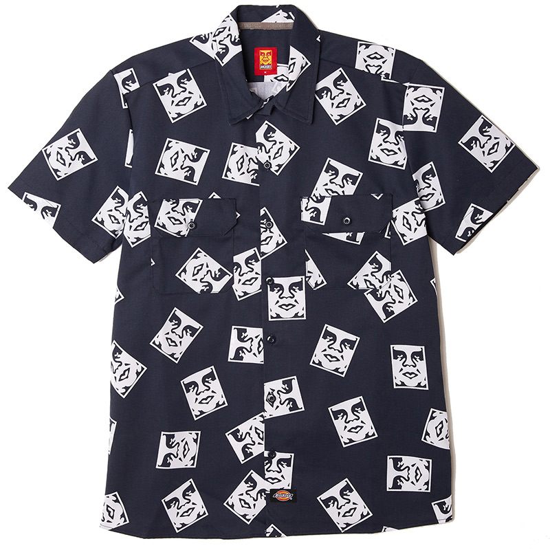 Obey X Dickies Work Shirt Dark Navy