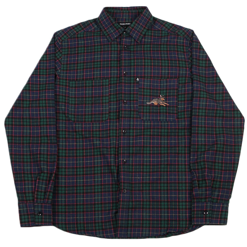Pass Port Best Friend Embroidery Flanno Shirt Green/Navy