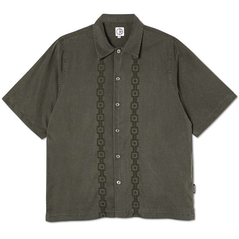 Polar Square Stripe Bowling Shirt Khaki