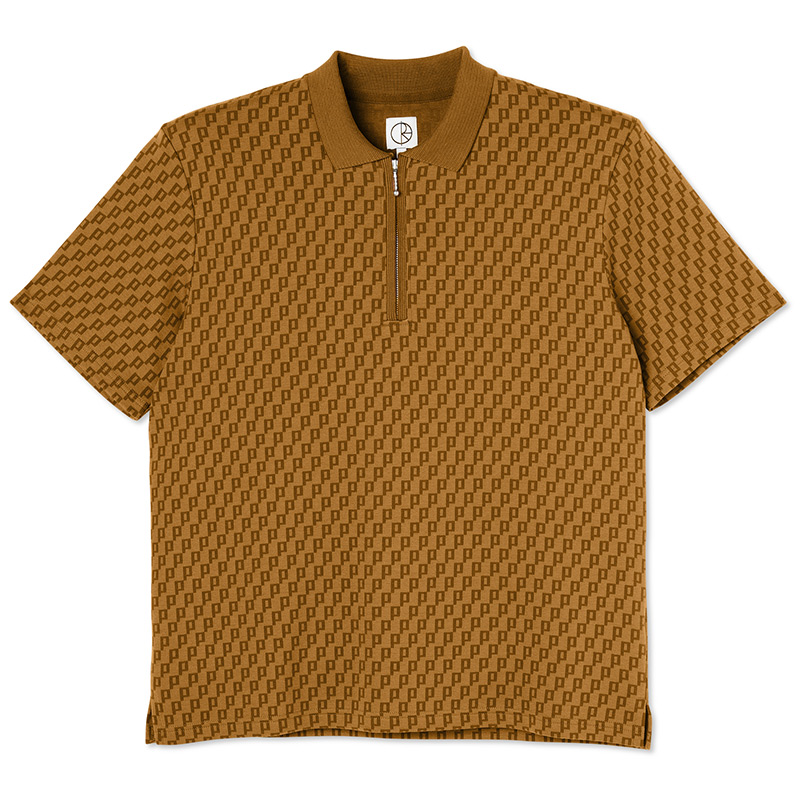 Polar Zip Pique Shirt Golden Brown