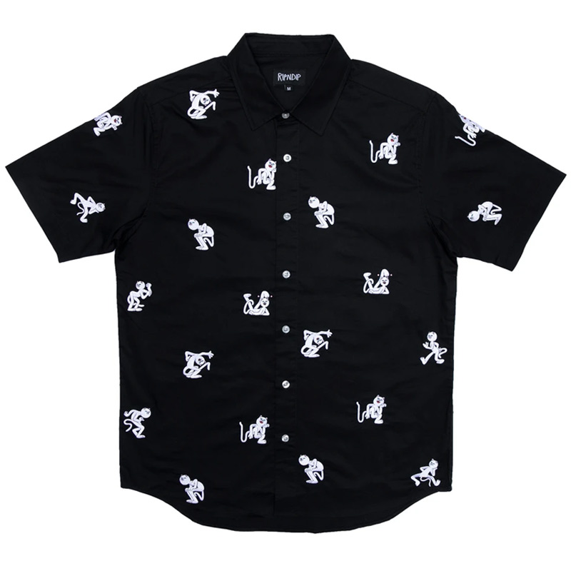 RIPNDIP Dance Party Button Up Shirt Black