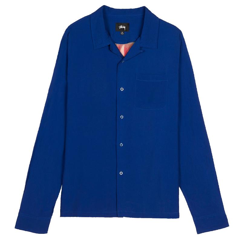 Stussy Big Poppy Longsleeve Shirt Blue