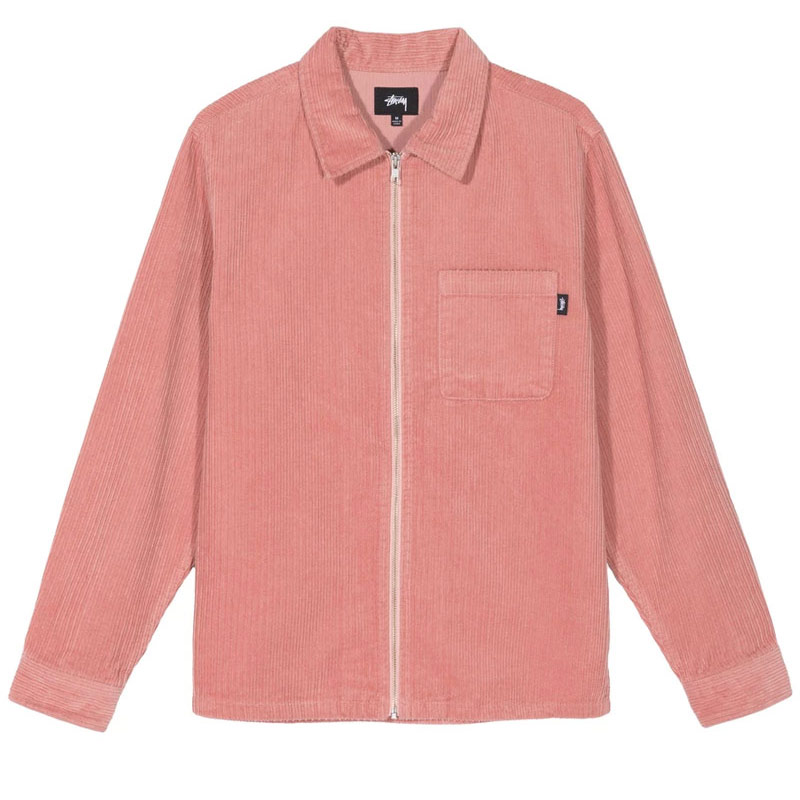 Stussy Big Wale Cord Zip Up Longsleeve Shirt Pink