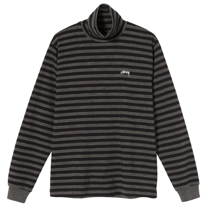 Stussy Classic Stripe Turtleneck Longsleeve Shirt Black