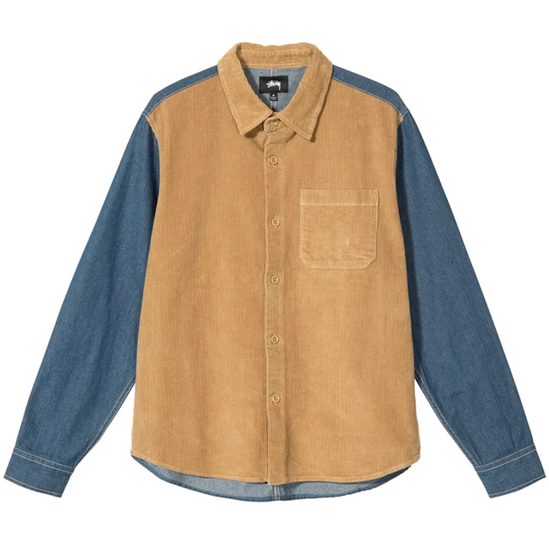 Stussy Cord Denim Mix Shirt Khaki