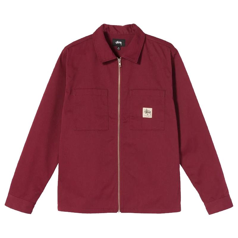 Stussy Full Zip Longsleeve Work Shirt Burgundy