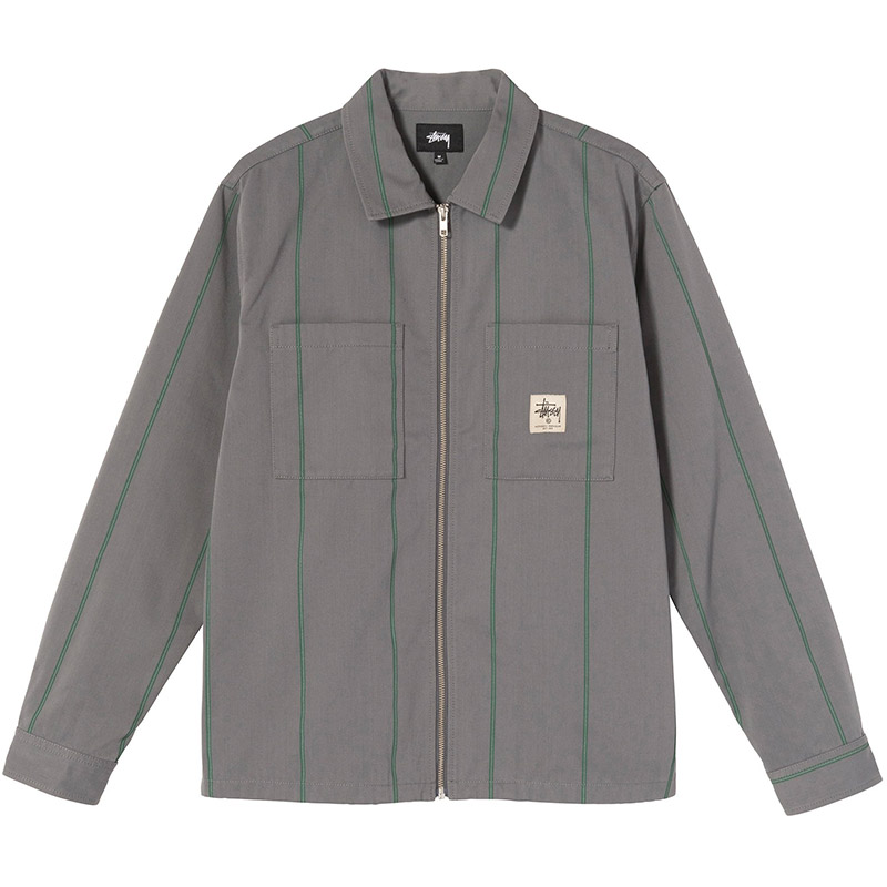 Stussy Full Zip Longsleeve Work Shirt Grey Stripe
