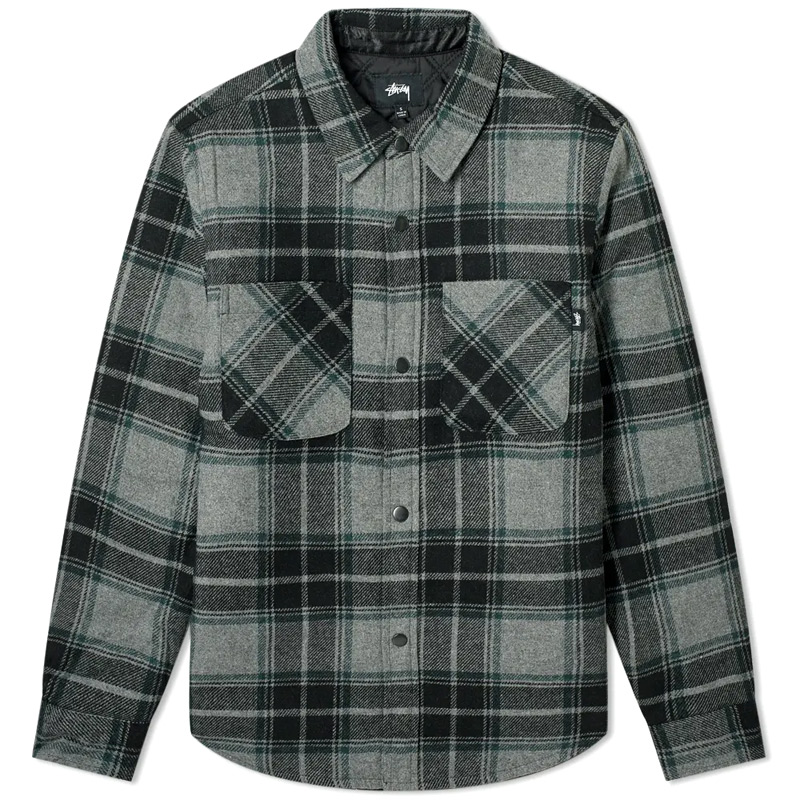 Stussy Max Plaid Quilted Shirt Grey