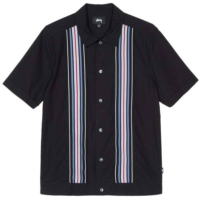 Stussy Striped Knit Panel Shirt Black