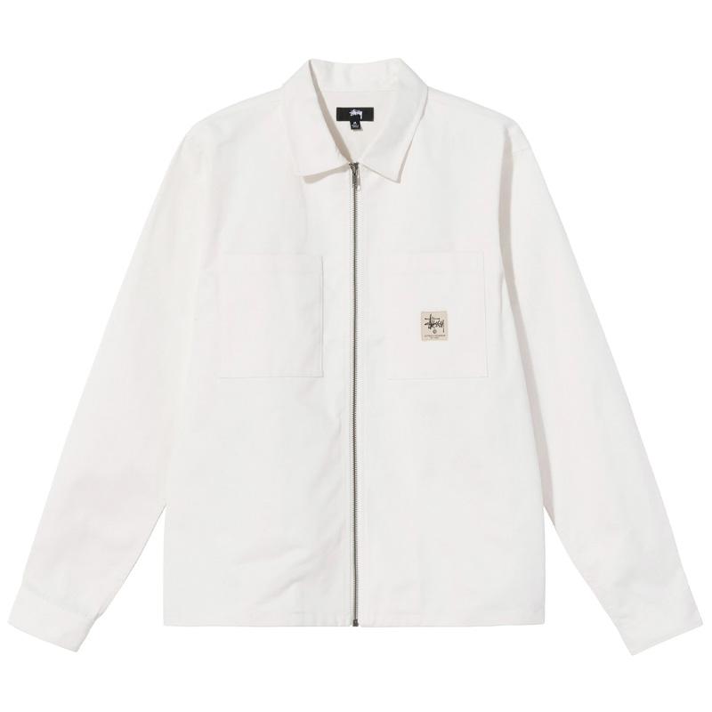Stussy Zip Up Work Longsleeve Shirt Off White