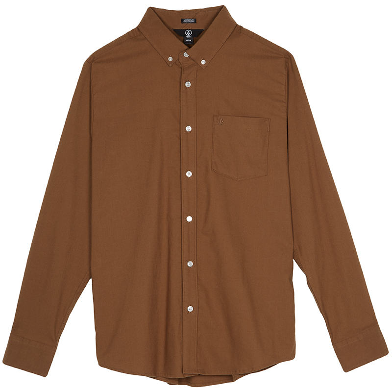 Volcom Oxford Stretch Longsleeve Shirt Mud
