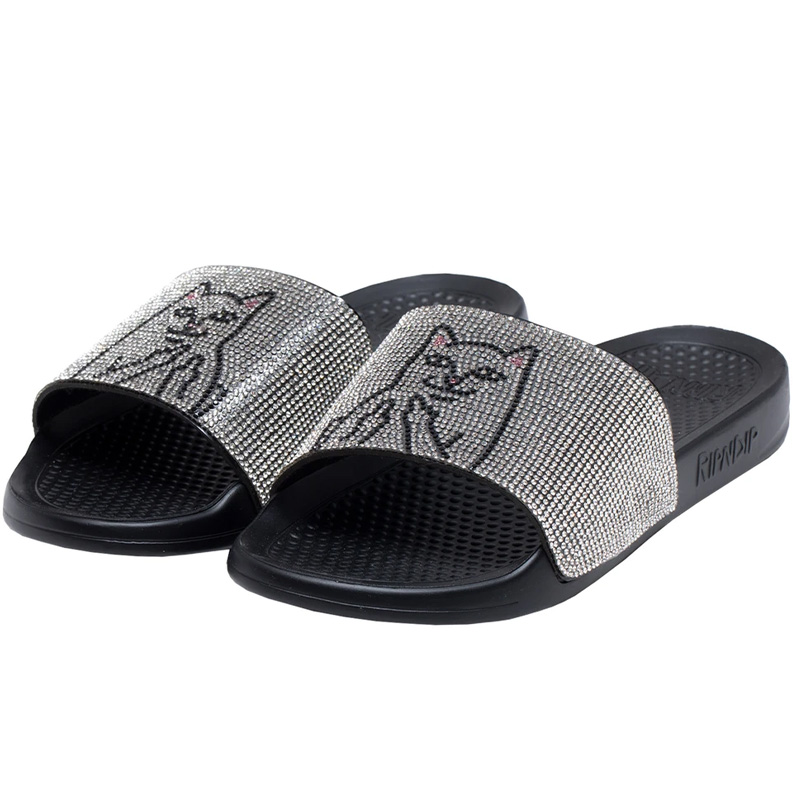 RIPNDIP Lord Nermal Slides Rhinestone Black