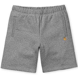 Carhartt Chase Sweat Shorts Dark Grey Heather/Gold