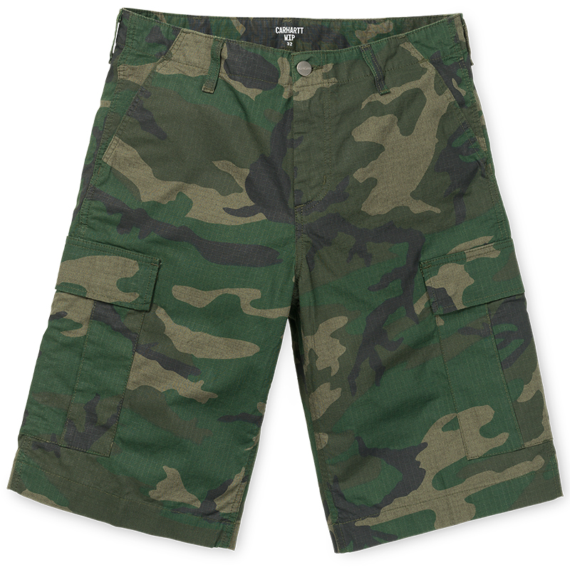 Carhartt Regular Cargo Shorts Camo Combat Green Rinsed