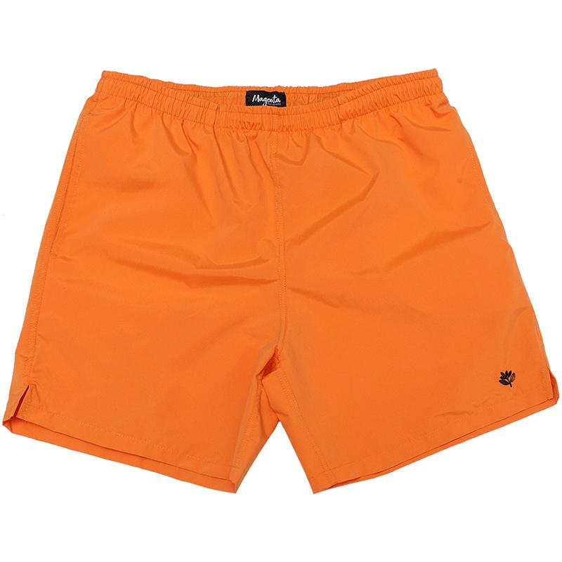 Magenta Plant Shorts Orange