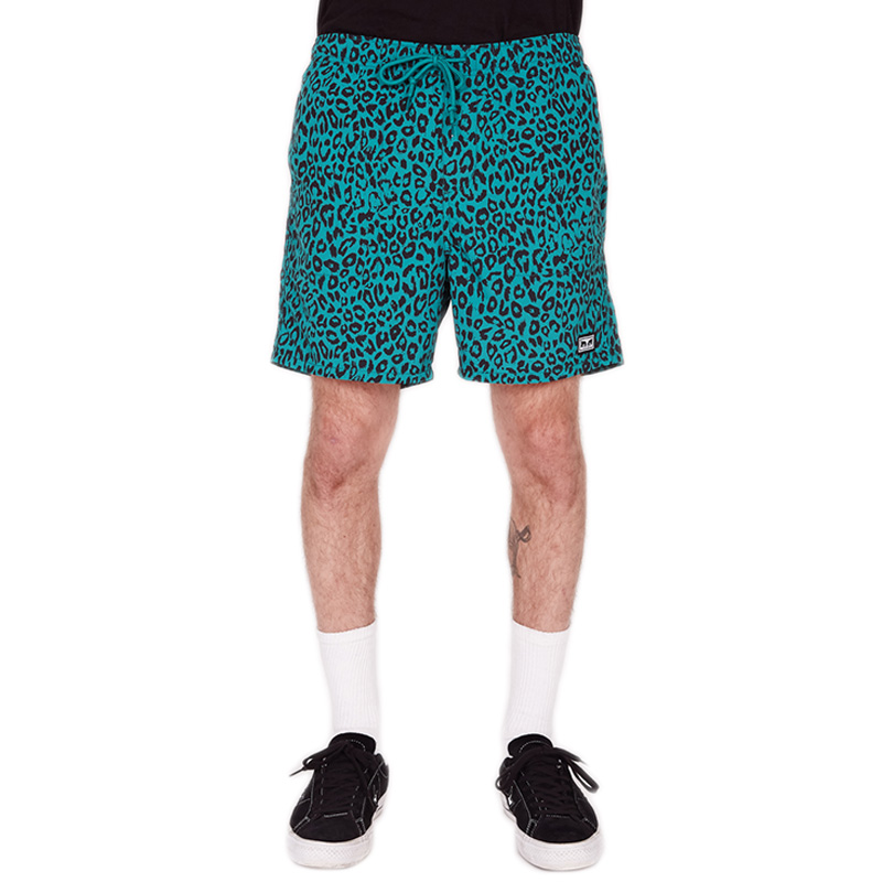 Obey Dolo Leopard Shorts Leopard Blue Green