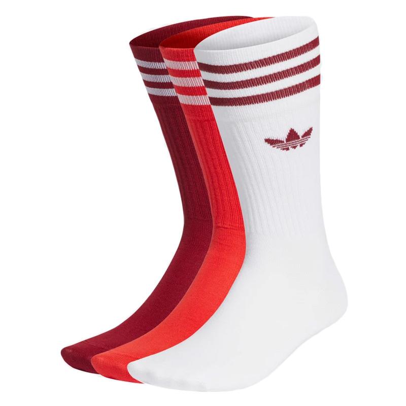 adidas Solid Crew Socks White/Cburgu/Red 3-Pack