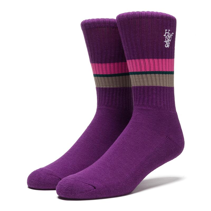 HUF 1984 Stripe Crew Sock Purple