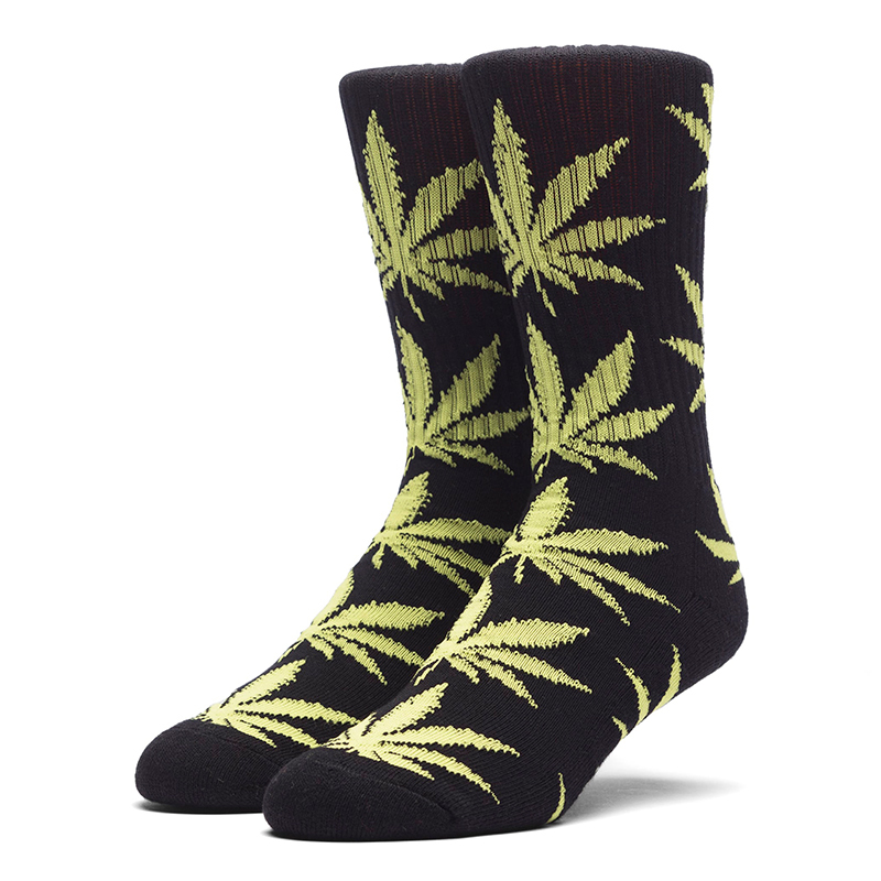HUF Plantlife Crew Socks Black/Neon Green