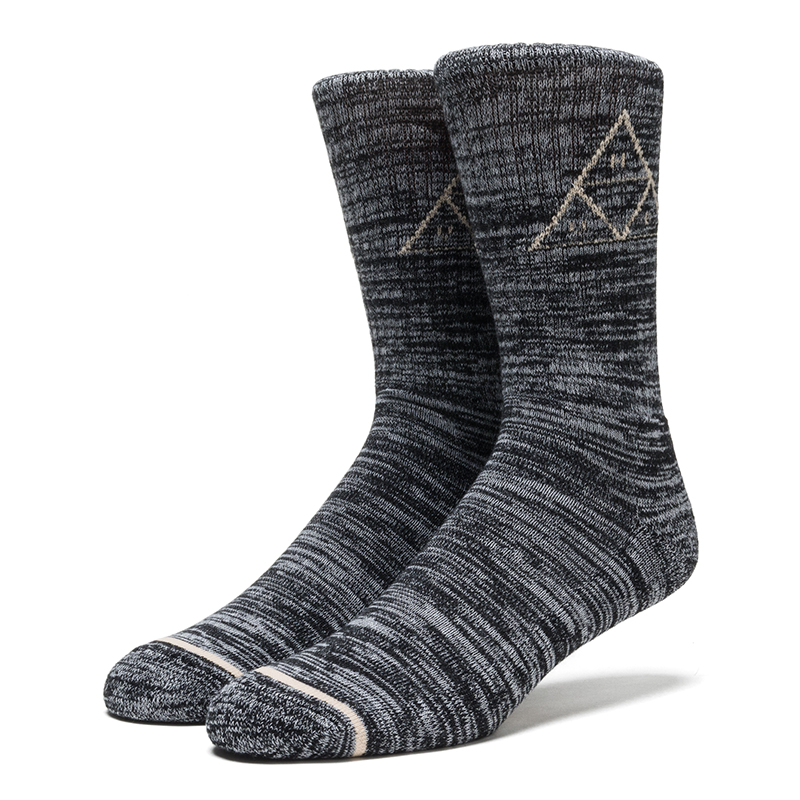 HUF Triple Triangle Melange Crew Sock Black