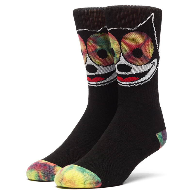 HUF X Felix The Cat Hypnotize Crew Socks Black