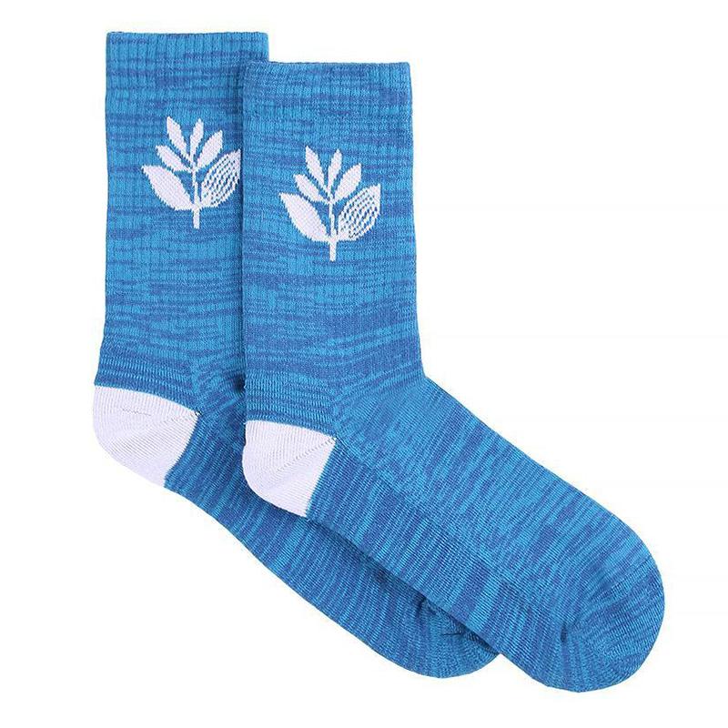 Magenta Plant Socks Blue