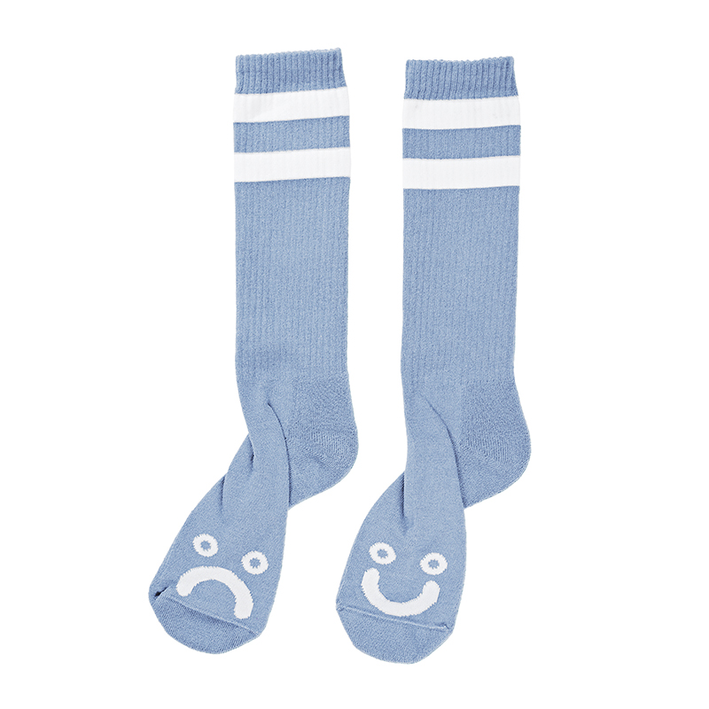 Polar Happy Sad Classic Sock Powder Blue / White