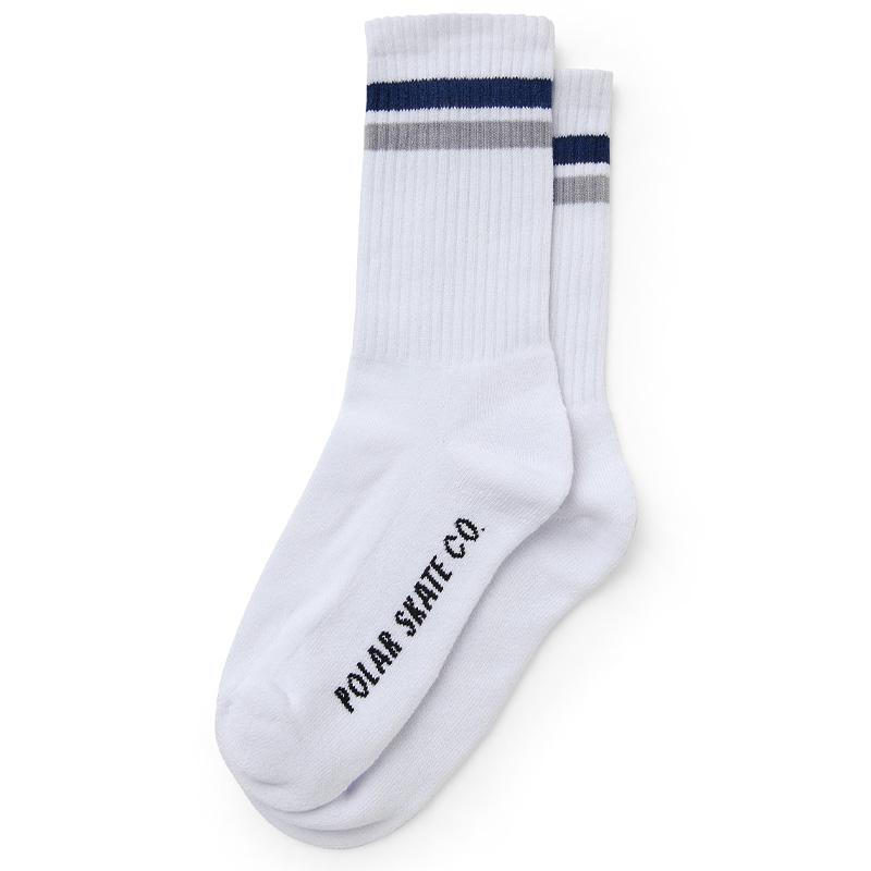 Polar Stripe Socks White / Navy / Grey