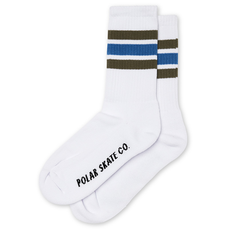 Polar Stripe Socks White/Army/Blue