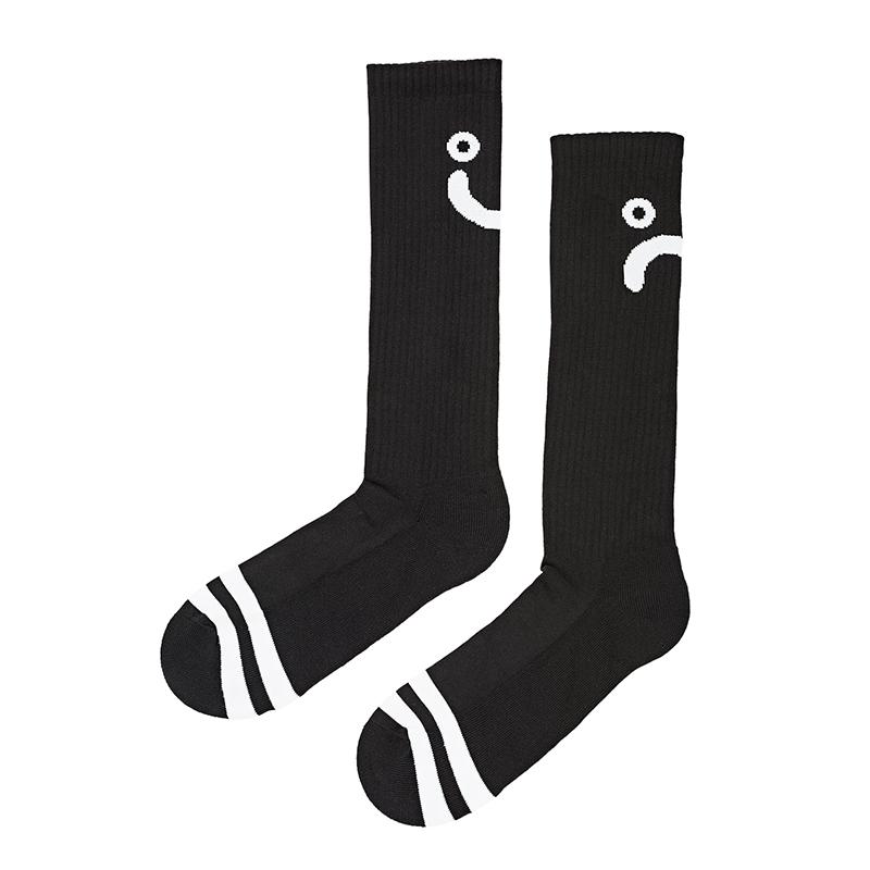 Polar Upside Down Happy Sad Socks Black / White