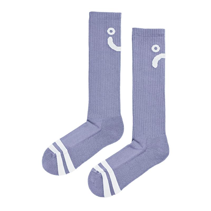 Polar Upside Down Happy Sad Socks Lavender / White