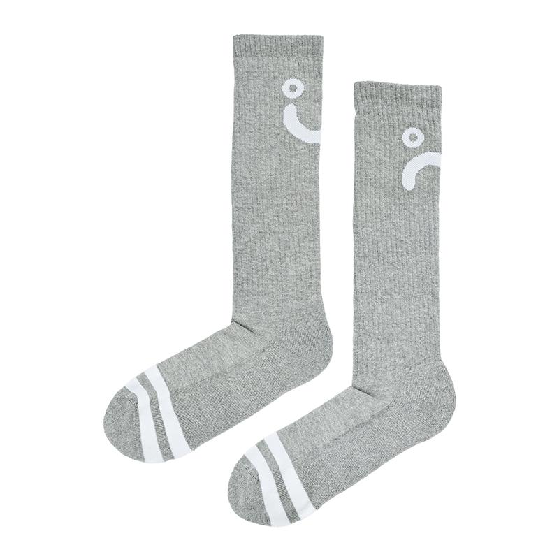 Polar Upside Down Happy Sad Socks Sport Grey / White