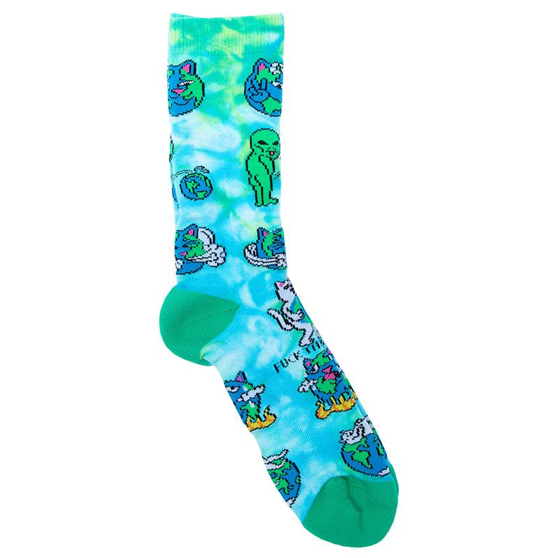 RIPNDIP Save The World Socks Blue Tie Dye