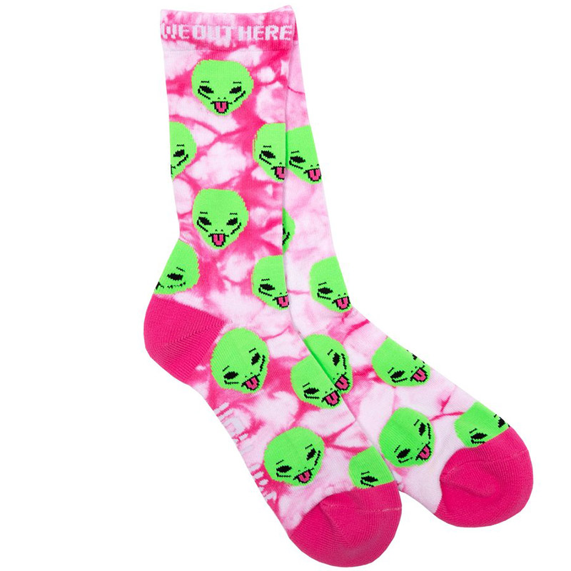 RIPNDIP We Out Here Socks Pink Lightning Wash