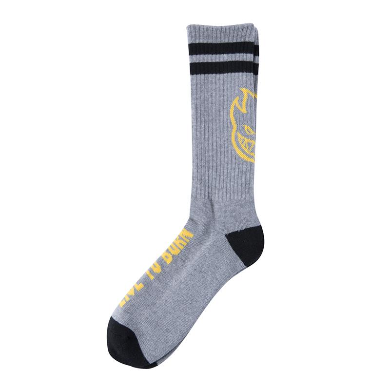 Spitfire Heads Up Socks Heather Grey/Yellow/Black
