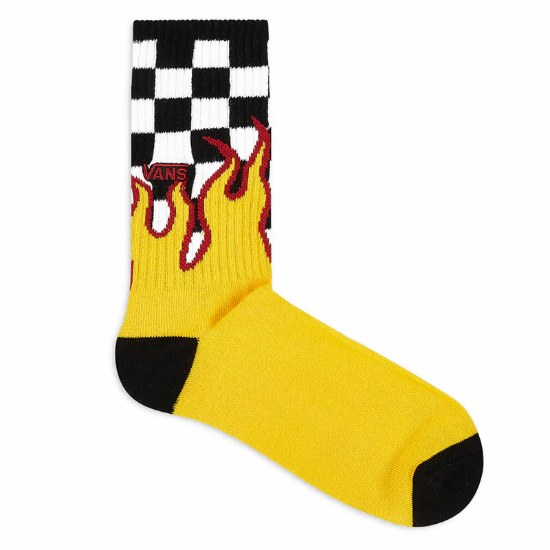 Vans Flame Check Crew Socks Black/White Check/Flame