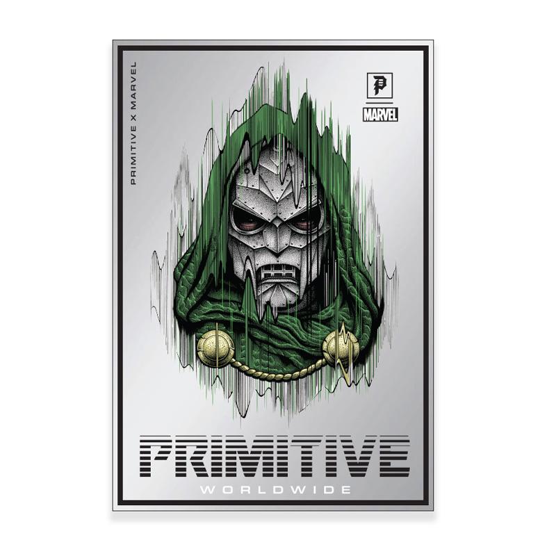 Primitive x Marvel x Paul Jackson Doctor Doom Sticker Silver