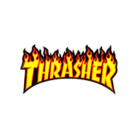 Thrasher Flame Sticker Medium Black/Yellow/Orange