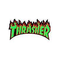 Thrasher Flame Sticker Medium Green/Black/Red