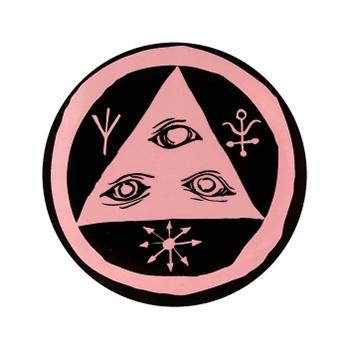 Welcome Talisman Sticker Black/Pink Chrome 3 Inch