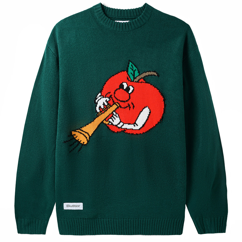 Butter Goods Apple Knitted Sweater Forest Green