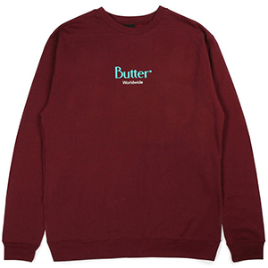Butter Goods Classic Logo Crewneck Sweater Burgundy