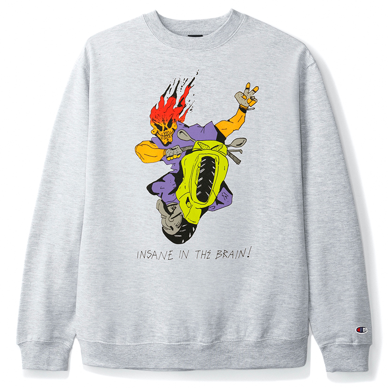 Butter Goods Insane In The Brain Crewneck Sweater Ash Grey