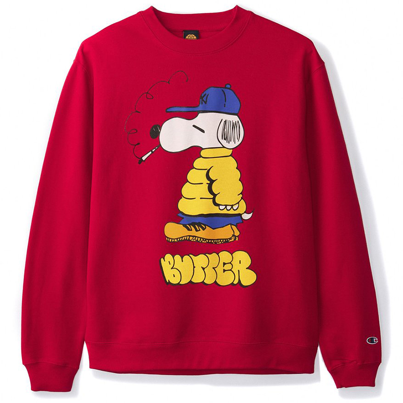 Butter Goods Lo Goose Champion Crewneck Sweater Red