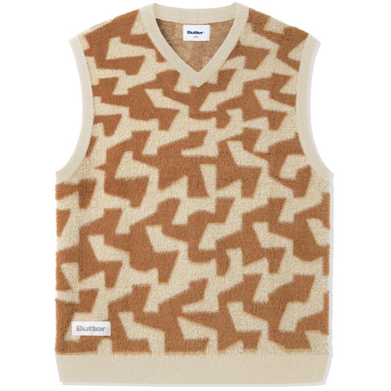 Butter Goods Mohair Knit Vest Brown/Tan