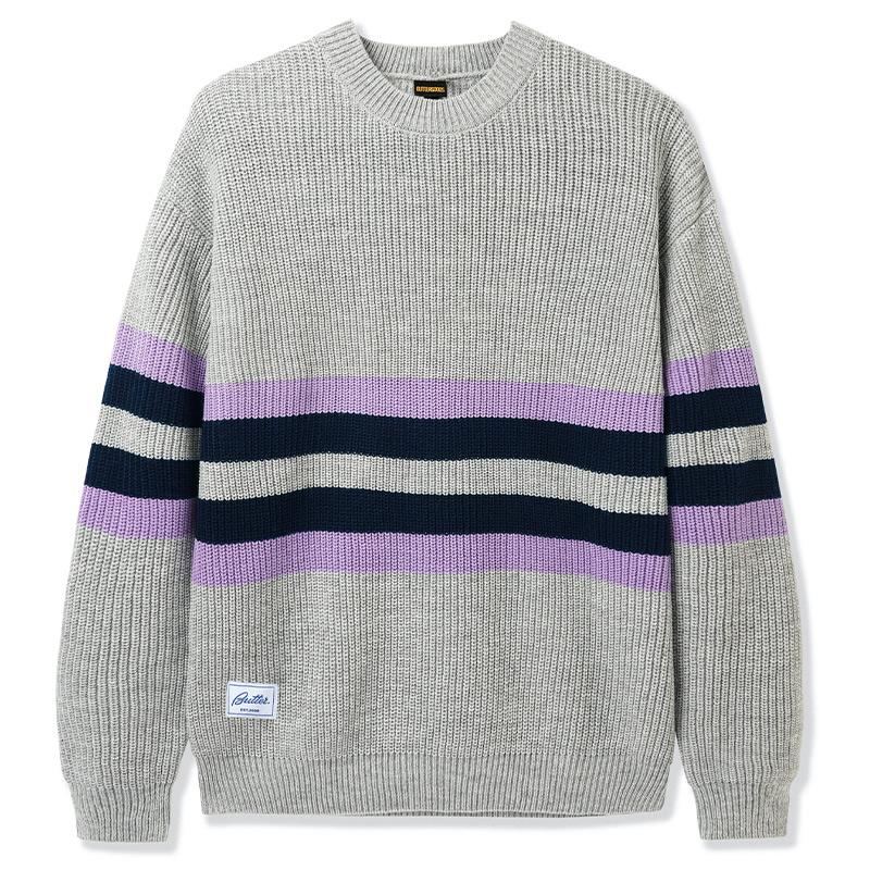 Butter Goods Moor Sweater Grey/Mauve/Navy