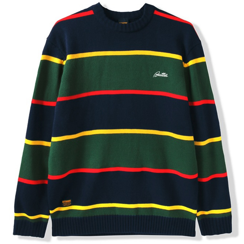 Butter Goods Stripe Knitted Sweater Navy/For/Red/Yellow