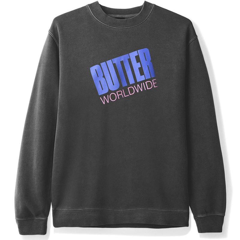 Butter Goods Tilt Logo Crewneck Sweater Pigment Black