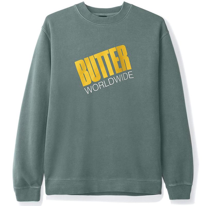 Butter Goods Tilt Logo Crewneck Sweater Pigment Green